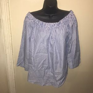 """Tops - Size XL Striped """"Off the Shoulder"""" Top"""